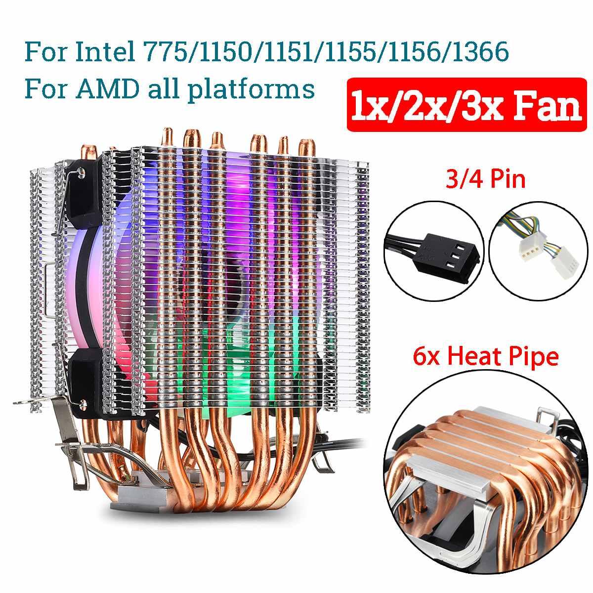 6 cuivre Heatpipe ventilateur refroidisseur de processeur dissipateur thermique 3/4 broches RGB ventilateur refroidisseur pour Intel 775/1150/1151/1155/1156/1366 et AMD toutes les plates-formes
