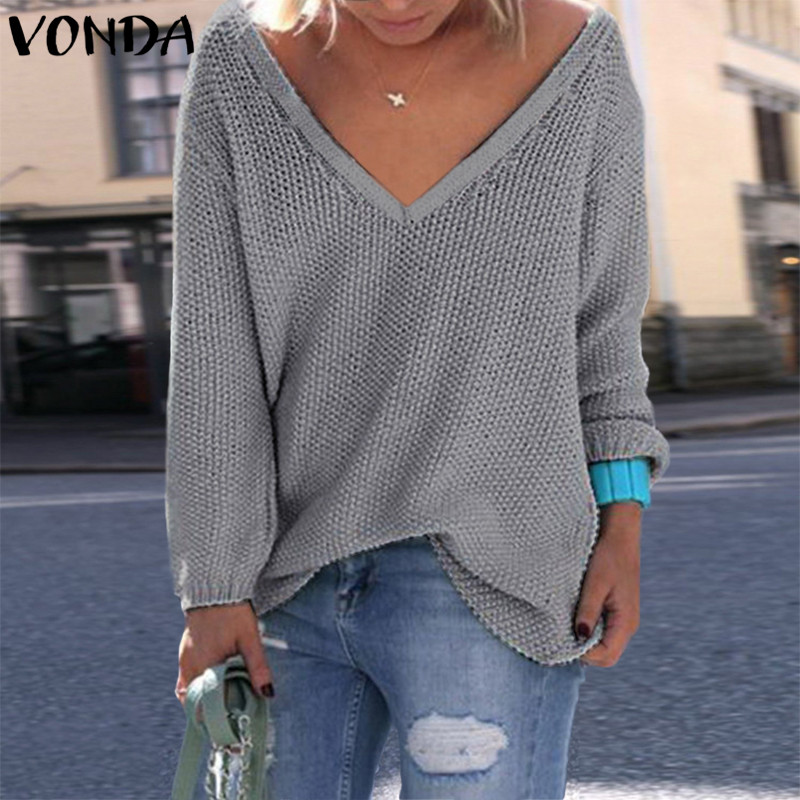 VONDA Women Sweater 2018  Autumn Winter Knitted Sweater V Neck Long Sleeve Top Pullovers Elegant Solid  Loose Knitwear Blusas