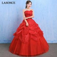 LASONCE Pleat Strapless Red Tiered Tulle Ball Gown Wedding Dresses Off The Shoulder Lace Appliques Backless Bridal Dress frill off shoulder lace overlay tiered dress