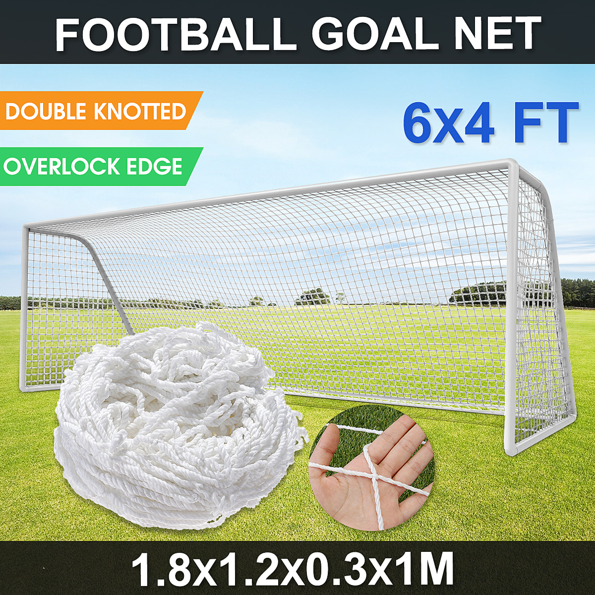 6x4 FT Full Size Formazione Partita di Calcio di Calcio Goal Post Net Per Gli Sport All'aria Aperta Bianco Polipropilene Ad Alto Impatto overlock-Bordo