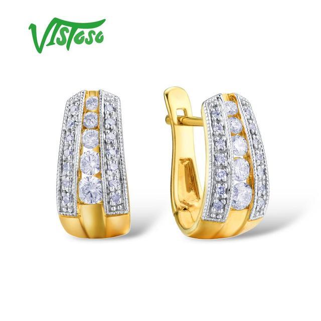 VISTOSO Gold Earrings For Women 9K 375 Yellow Gold Glamorous Elegant Sparkling Diamond Luxury Wedding Engagement Fine Jewelry