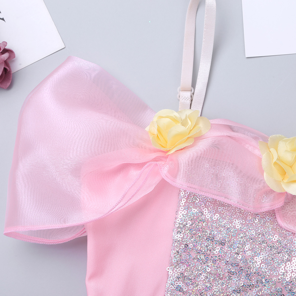 Image 5 - iiniim Kids Ballerina Shoulder Straps Off Shoulder Design 3D Flowers Ballet Dance Wear Gymnastics Leotard Girls Tutu DressBallet   -