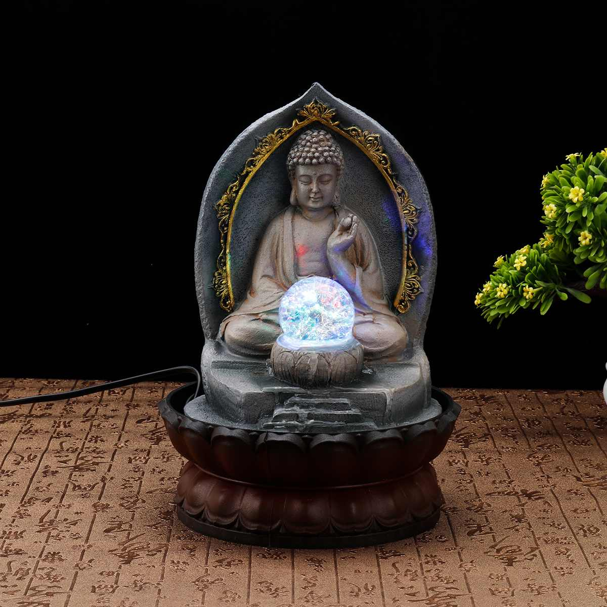 Resin Craft Chinese Lucky Buddha Statue Figurines Home Decoration Water Fountain  Office Tabletop Water Ornament Wedding Gift-in Figurines & Miniatures from Home & Garden    1