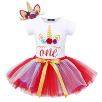 3Pcs Summer dress Newborn Baby Girl Clothes Short Sleeve Cotton clothing Unicorn Headband Prince dress Outfits for 1st Birthday