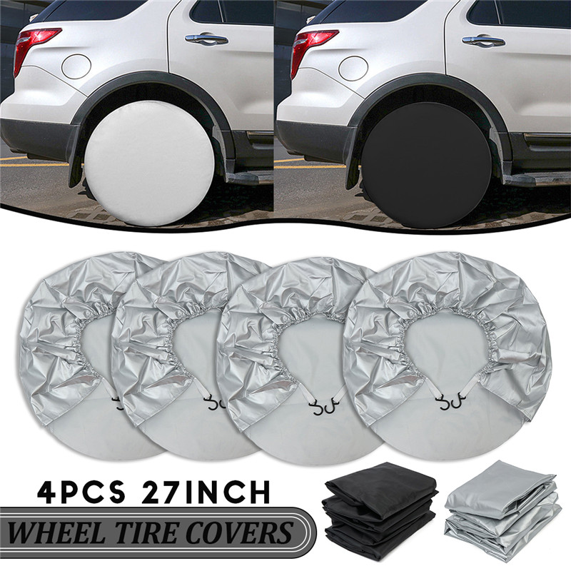4pcs 27inch Wheel Tire Covers Case Car Tires Storage Bag Vehicle Wheel Protector For RV Truck Car Camper Trailer Car Styling