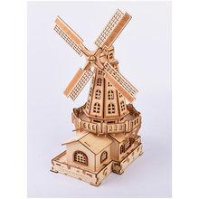 2019 novo de alta precisão de corte a laser quebra-cabeça 3d de madeira jigsaw modelo kits de construção-moinho de vento holandês