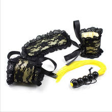 Sexy Lace Mask + Sex Handcuffs + Sex Whip Sex Toys for Couples Adult Games Sex SM Flirting Sets Women Exotic Bondage Kit Set A3