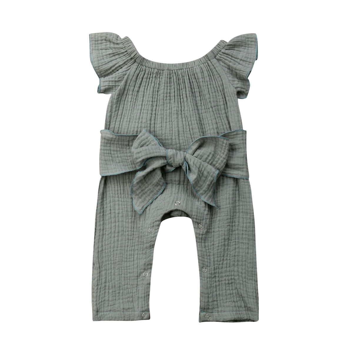 0-24M Newborn Baby Girl Off shoulder Solid Grey Bow Cotton   Romper   Jumpsuit Outfits Summer Clothes
