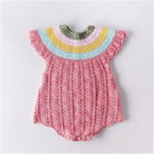 Autumn romper baby hot pink rainbow collar princess costumes cotton knitted infant jumpsuit for newborn girls outfits onesie