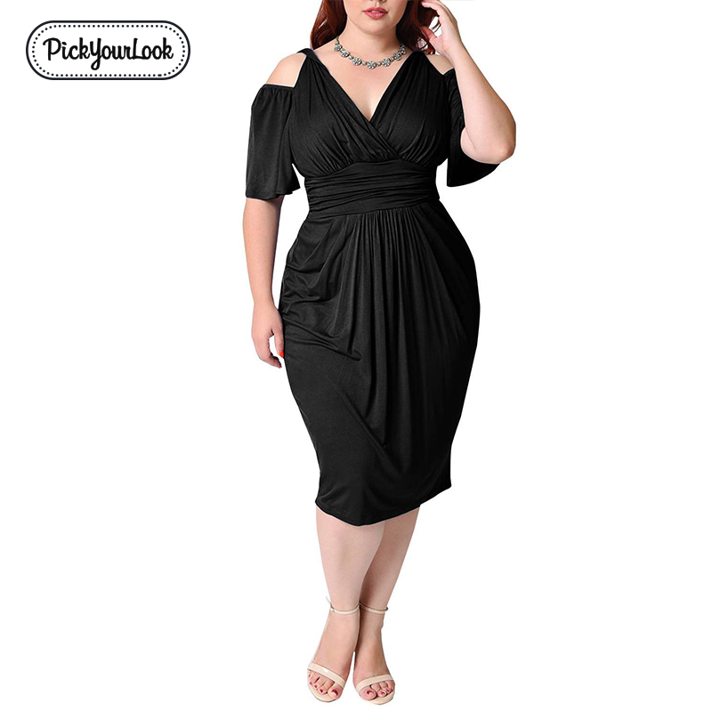 Pickyourlook Women Bodycon Dress Plus Size Solid Bandage V Neck Office Ladies Midi Dress Summer Wedding Party Vestido De Festa in Dresses from Women 39 s Clothing