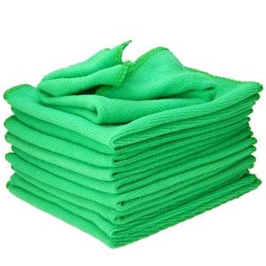 Image 4 - Mayitr 1Set 10X verde microfibra pulizia Auto dettagli Auto morbidi panni in microfibra asciugamano spolverino pulizia domestica 25*25CM
