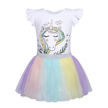 AmzBarley Girls Unicorn Costume Toddler Princess Tulle Dress Cotton Colorful Lace Birthday Party Theme Dresses