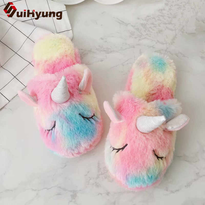 c7986a2f26c7 Suihyung Winter Plush Slippers Women Colored Colored Unicorn Warm Indoor  Shoes Lovely Girls Home Bedroom Non