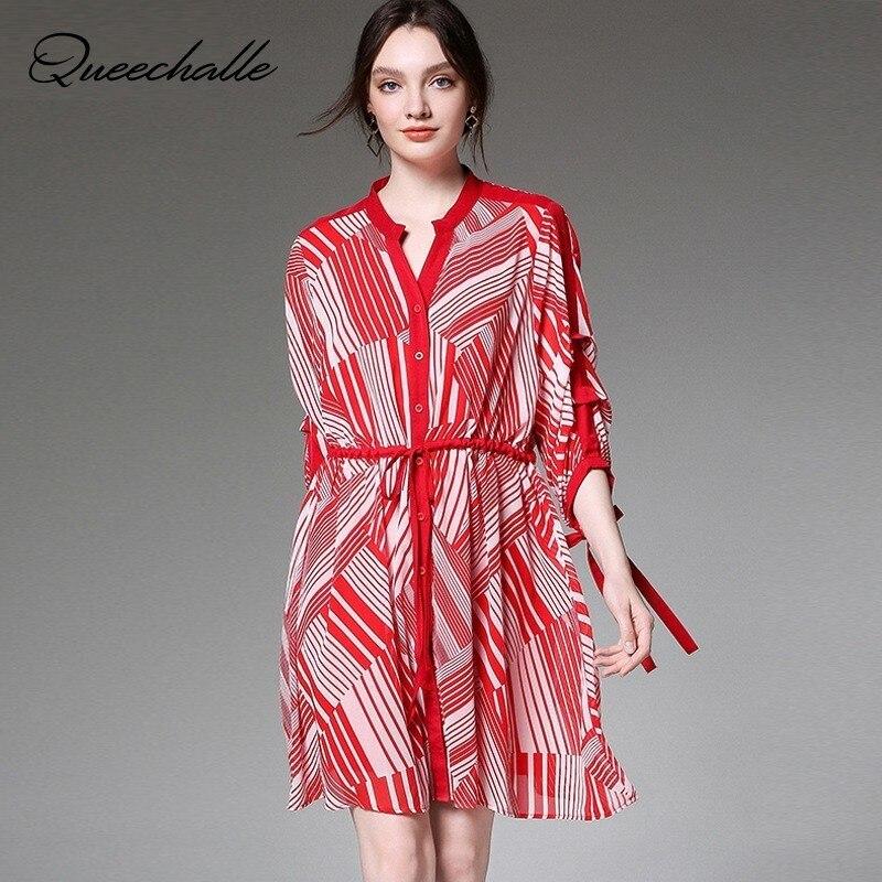 Rouge noir rayure irrégulière robe en mousseline de soie été demi manches col en V cordon liens taille robe ample Midi robe de grande taille femmes