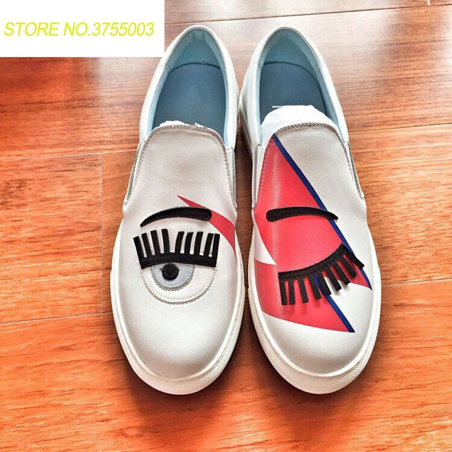 CF Brands White Flats Round Toe Zapatos Mujer Glitter Eyelash Flat  Espadrilles Blink Eye Flat Shoes Womens Lazy Loafers 39d62f48e711