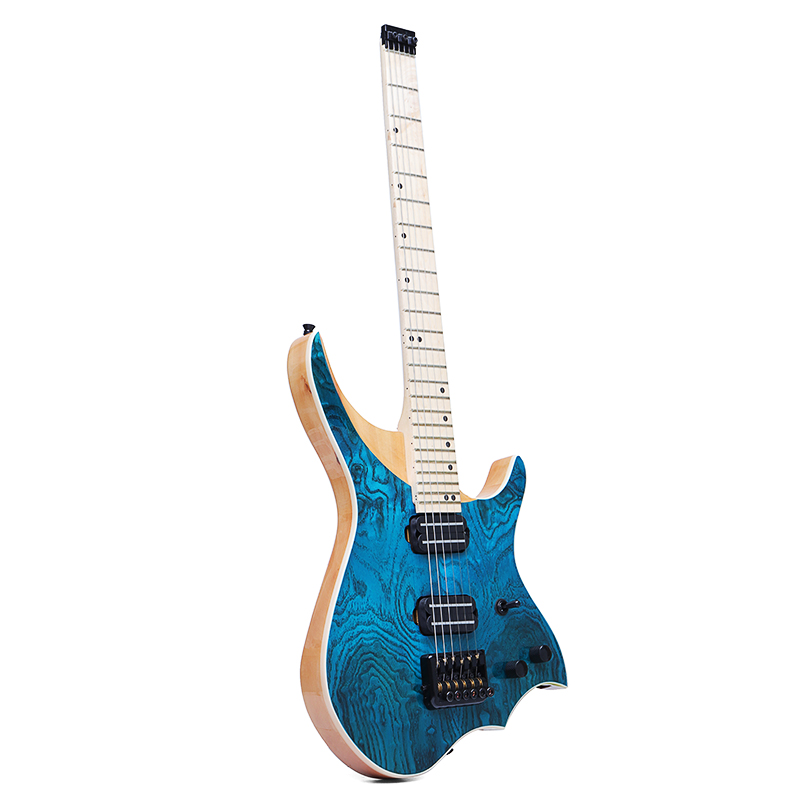 24 frettes 6 cordes bleu rafale guitare électrique blanc cire bois haut érable massif cou et touche musicale rafale guitare électrique