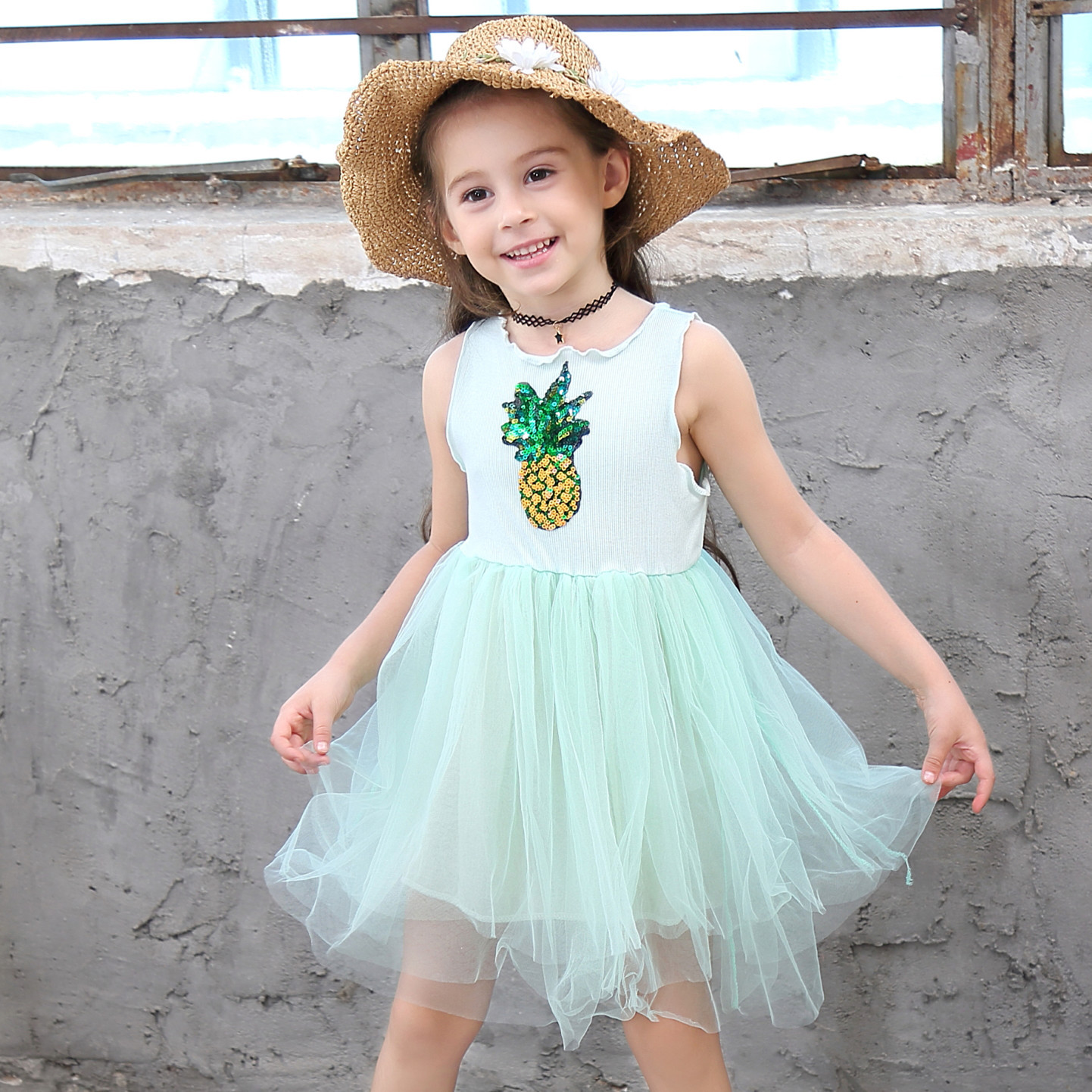 Kids girls dress 2019 summer new cotton pineapple mesh sleeveless childrens clothing
