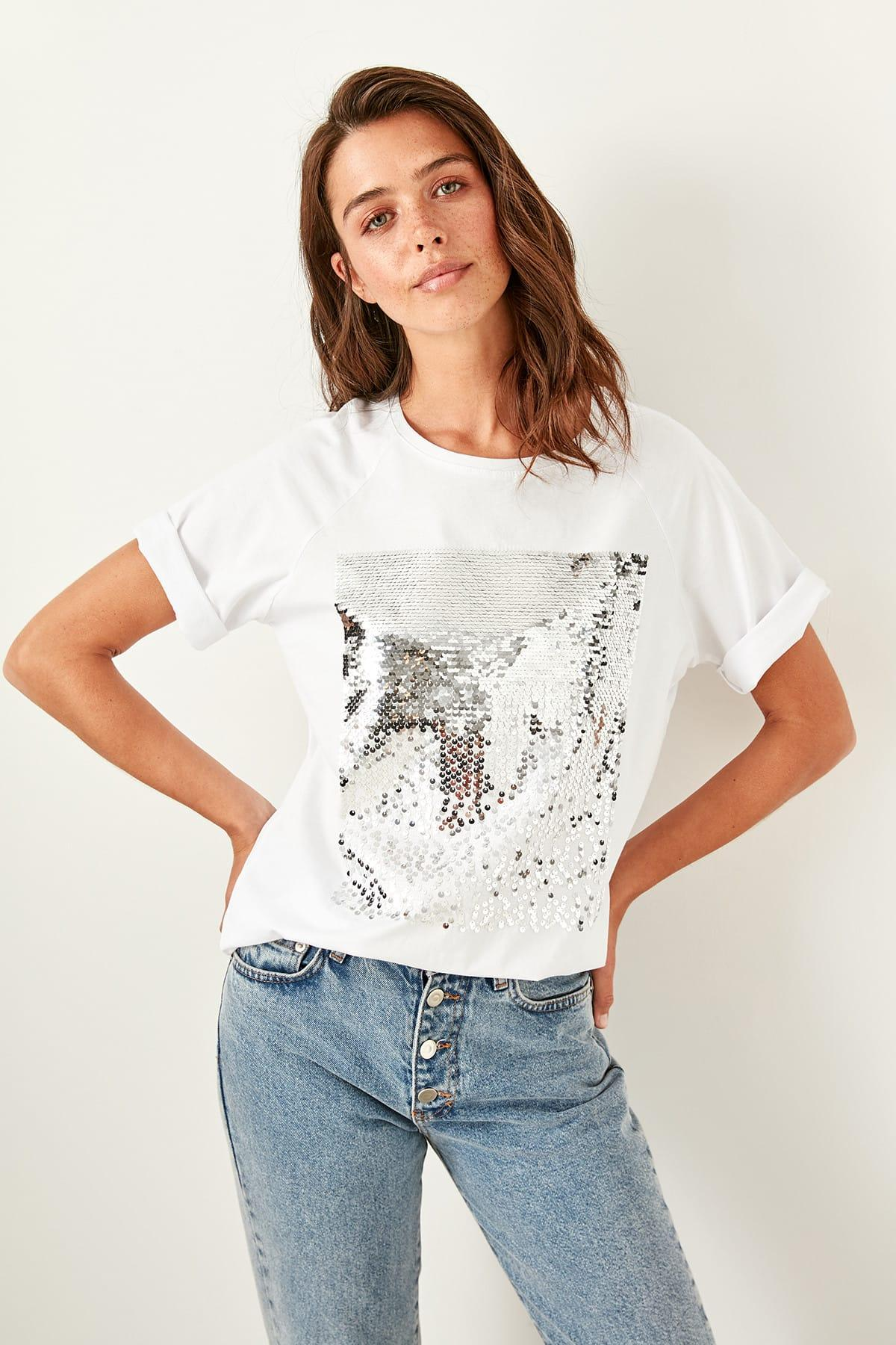 Trendyol Women White Sequins Summer T-shirt Knitted Cotton Basic Tops TWOSS19XS0006
