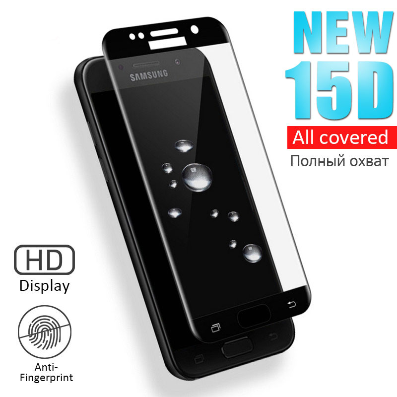 15D Tempered Glass on For Samsung <font><b>Galaxy</b></font> <font><b>A5</b></font> A7 A3 2016 2017 A6 A8 <font><b>2018</b></font> <font><b>Screen</b></font> Protector <font><b>A5</b></font> A7 2017 S6 S7 Protective Glass Film image