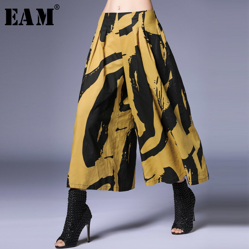 [EAM] 2019 New Spring Summer High Elastic Waist Pattern Printed 4 Colors Loose Wide Leg Pants Women Trousers Fashion Tide JS459