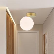 Nordic Glass Ball Led Ceiling Lamp Modern White Globe Round Light Fixtures Wall Mounted Lighting Corridor Outdoor Luminiare
