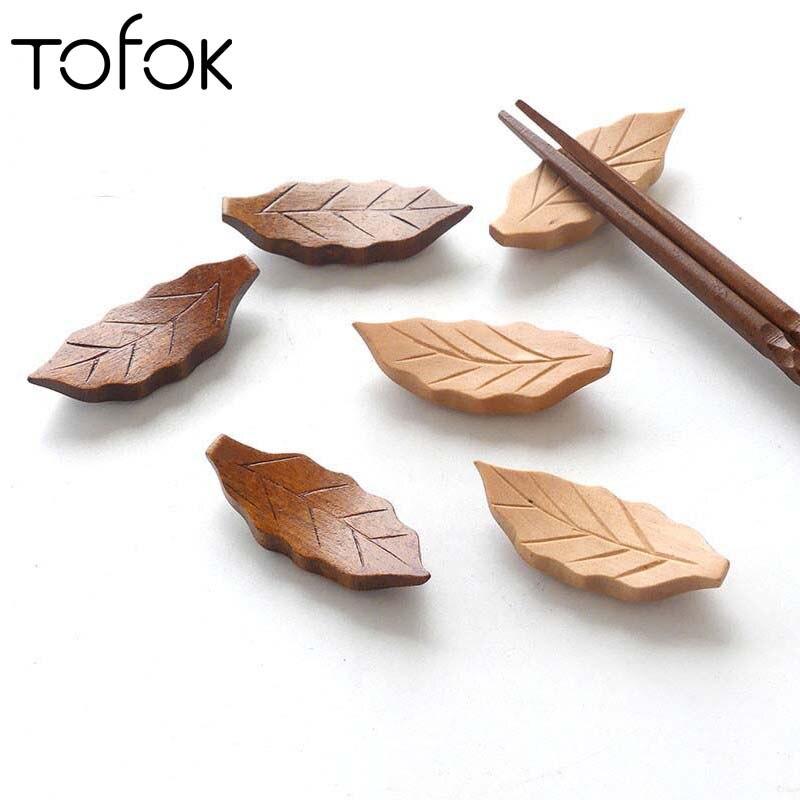 Home Stainless Steel Chopsticks Holder Rest Japanese Style Spoon Fork Knife Wooden Holder Tableware Rack Decoration Kitchen Gadgets