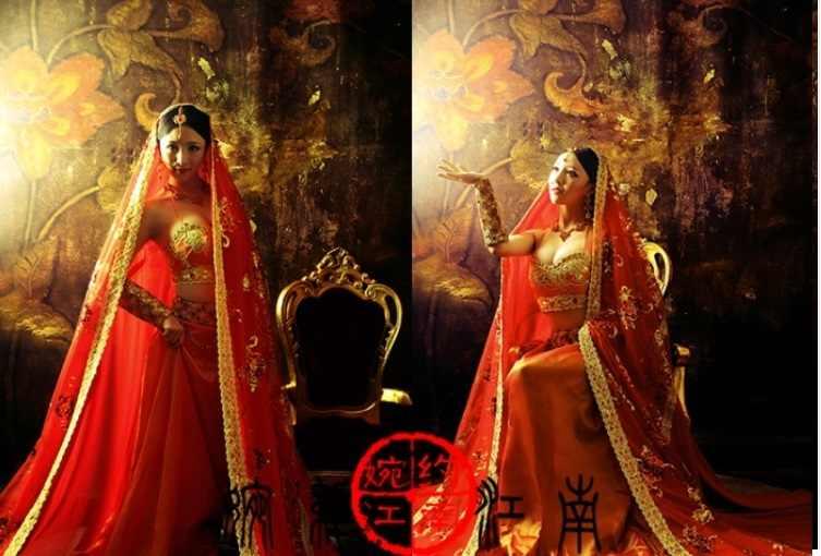 Новинка 2015 фотографии фото одежда Индия сари невесты костюм танец Красный Индийский salwar Костюм/salwar kameez/saree сари костюмы