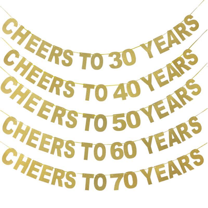 """Glitter dourado Da Bandeira """"elogios a 10/20/30/40/50/60/70/ 80/90 anos """"Guirlanda de Aniversário Celebração da Festa de Aniversário de Casamento Suprimentos"""