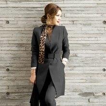 Spring Autumn Pant Suits Casual Office Lady Work Korean Uniform Long Blazer Jacket Suits Elegant V-Neck Long Jacket Pants Suits цена и фото