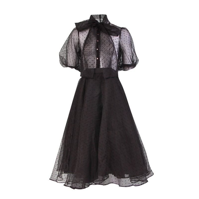 TWOTWINSTYLE Mesh Print Perspective Women Dress Bow Collar High Waist Belt Short Sleeve Long Dresses Female Elegant 2019 Spring