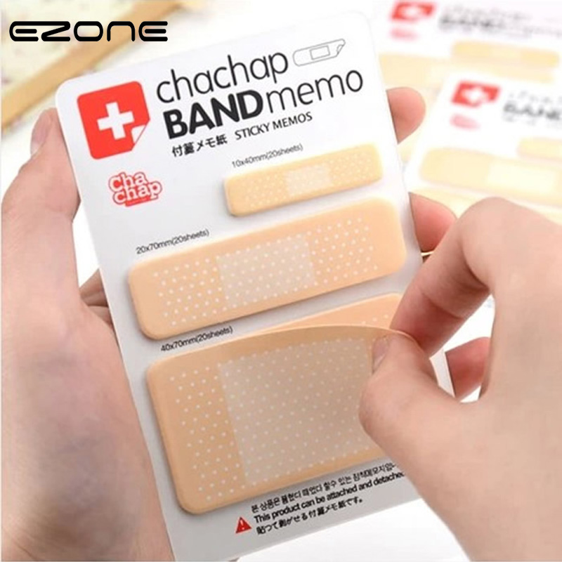EZONE Creative Band-aid Shape Memo Pad Different Size Self-adhesive Sticky Notes 60 Sheets N-Times Sticker Students Stationery