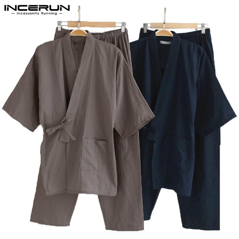 2 Teile/satz Japanischen Kimono Pyjamas Männlichen Robe Kleid Herren Lounge Bademantel Nachtwäsche Lose Fit Mann Baumwolle Pyjamas Anzüge Lightwear
