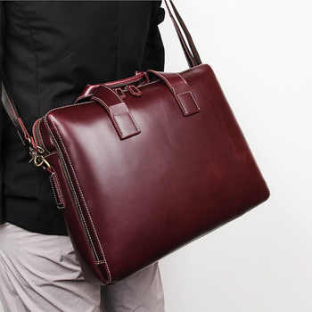 New Simple Fashion Business Briefcase 15 Inch Computer Bag 40-726 Cow Skin Men\'s Handbag Lawyer Briefcase