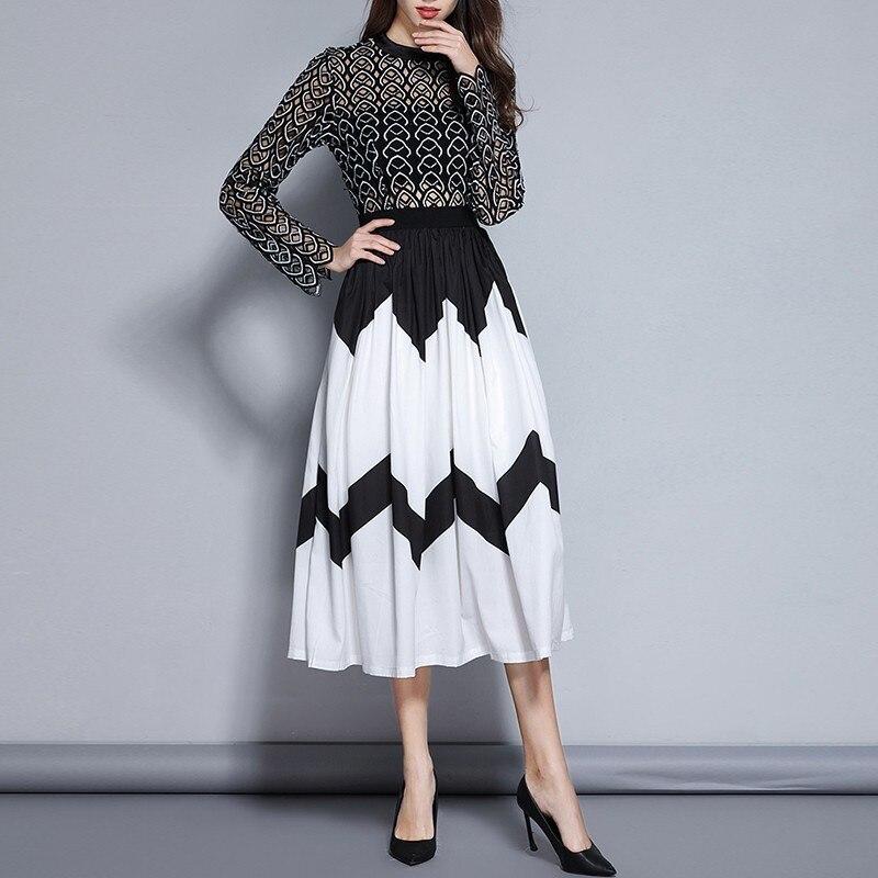 Évider Robe Femme Patchwork Manches Couleurs Printemps Haute Hit Taille Vêtements À De Cou Twotwinstyle 2019 Femmes O Black Robes Longues ZtStd