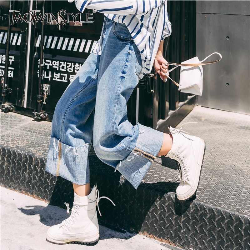 TWOTWINSTYLE повседневные джинсовые широкие брюки для женщин с высокой талией манжеты лодыжки длина брюки корейские женские джинсы 2018 Мода Новинка