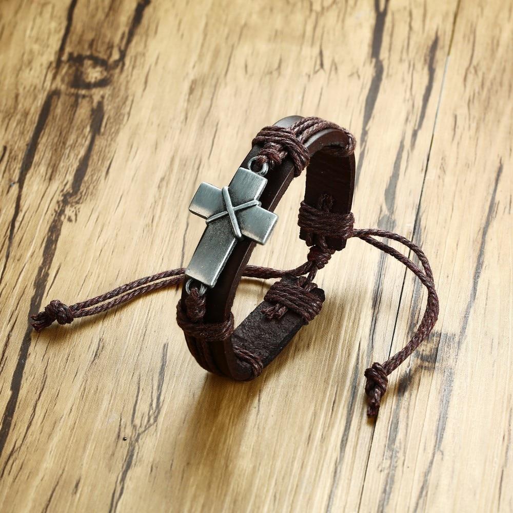 Прямая поставка, Мужской винтажный коричневый кожаный браслет с древним крестом для мужчин, христианские религиозные мужские ювелирные из...