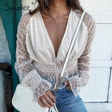 Simplee Elegant deep v-neck lace women blouse shirt