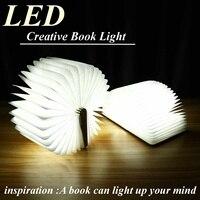 LED Foldable Wooden Book Shape Desk Lamp Nightlight Booklight Indoor Lighting USB Rechargeable Desk Lamp Light 2.5x11x14.7cm