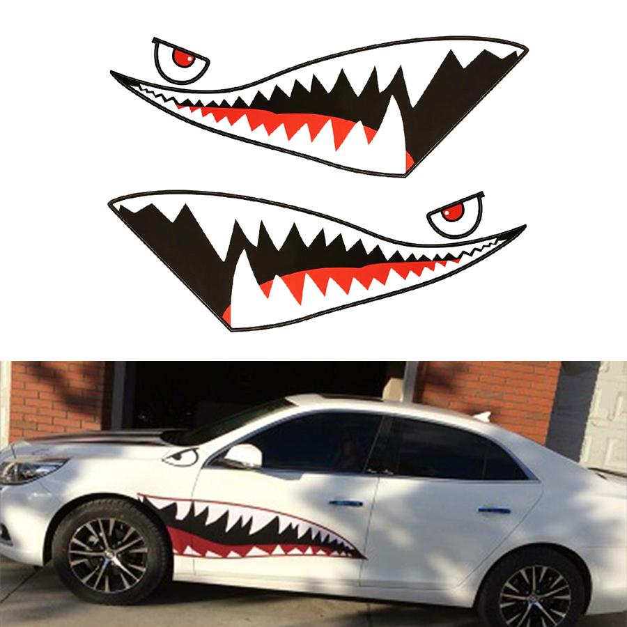 150cm Waterproof DIY Funny Shark Mouth Tooth Teeth Vinyl Car Auto Sticker Decal