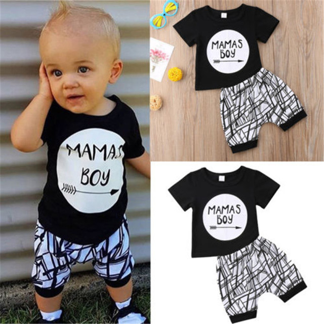 0-24M New Born Baby Clothes 2pcs Set Black Letter Print Tshirt For Boys White Stripe Pants Legging Baby Boys Clothes Newborn Set