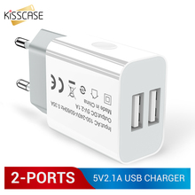 KISSCASE 2 USB Ports Phone Charger For iPhone 8 7 X Fast Charging For Samsung Travel Wall Charger EU Adapter For Huawei For LG цена и фото