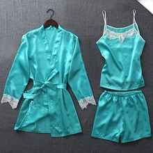 Autumn Silk 4 Pieces Pijamas Women Pajamas Sets Satin Sleepwear Elegant Lace Nightwear Sex