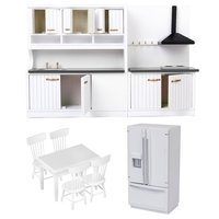 1:12 Scale Dollhouse Kitchen Furniture Set Wooden Refrigerator Table Chair Model Miniature Doll House Accessories Decoration