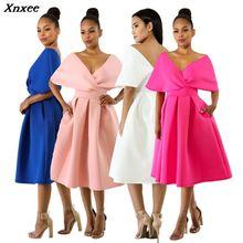 Xnxee 2019 Vestidos New Arrival Sexy Solid V-Neck Dress Summer Women Dresses Fashion Club Party Vestido De Fiesta