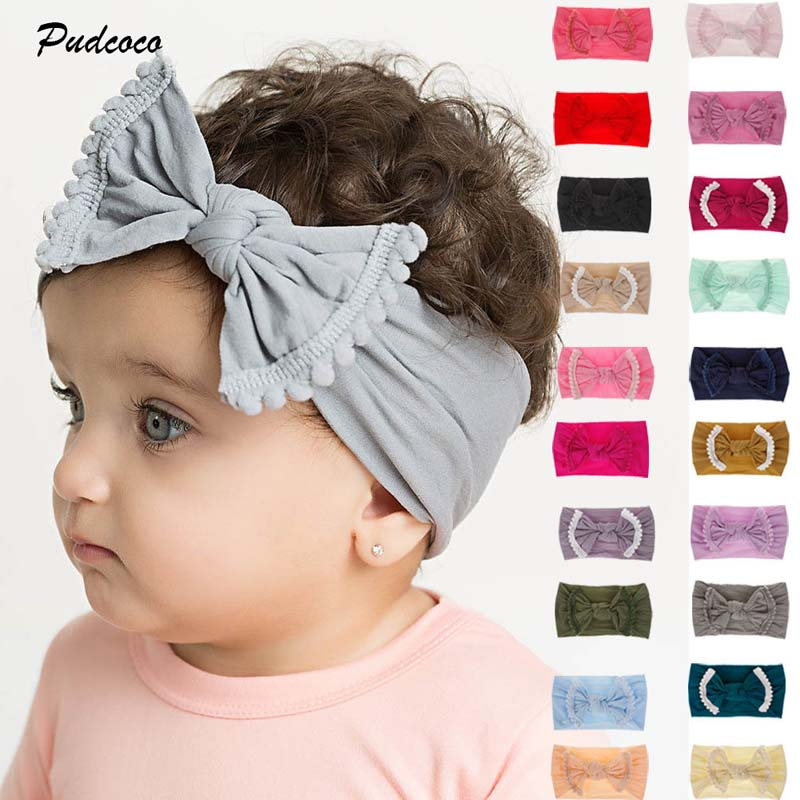 2018 Brand Baby Hairband Soft Cotton Baby Girls Kid Toddler Bow Tassel Hairband Headband Turban Big Knot Head-Wrap Free Shipping