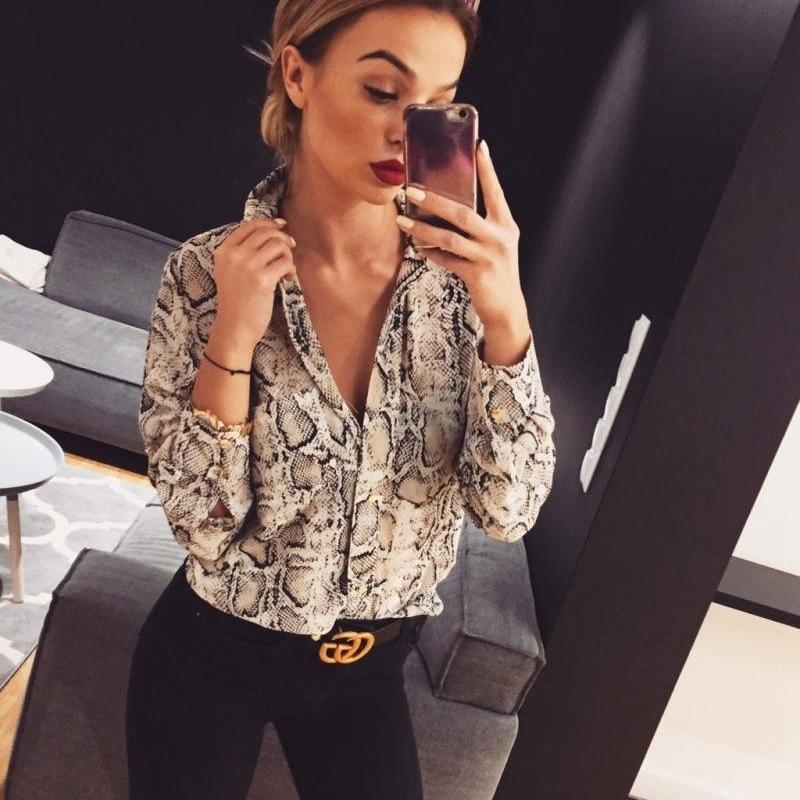 New 2019 Women Summer Leopard Print Long Sleeve Button V Neck Snake Skin Shirt Casual Blouse Tops