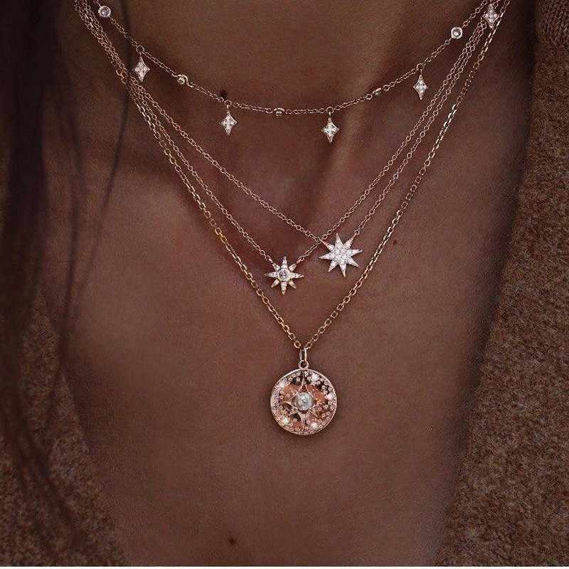 Vintage Multilayer Gold Necklaces for Women Kolye Fashion Moon Star Crystal Chain Necklaces & Pendants Boho Choker Jewelry 2019