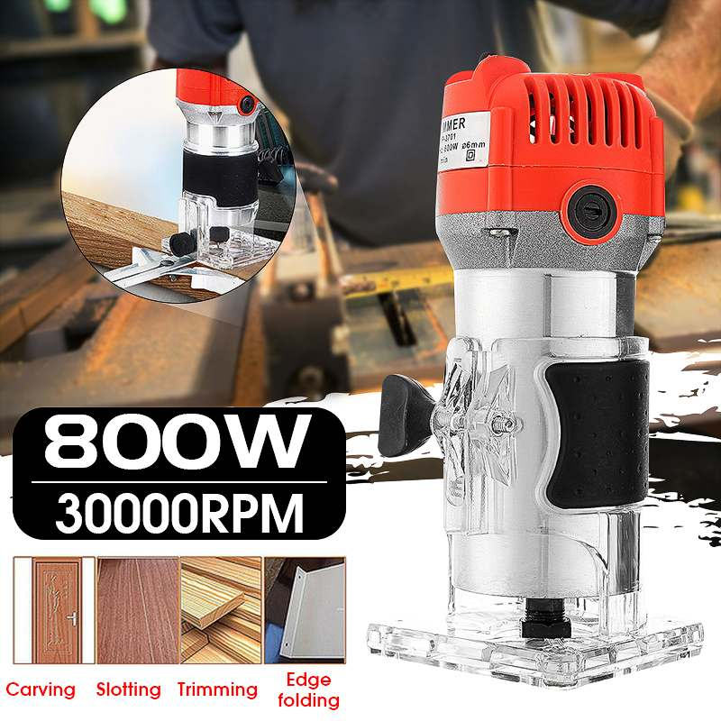800W 220V 30000RPM Electric Hand Trimmer Wood Router Laminate 6.35mm Durable Motor DIY Carving Machine Woodworking Power Tool800W 220V 30000RPM Electric Hand Trimmer Wood Router Laminate 6.35mm Durable Motor DIY Carving Machine Woodworking Power Tool