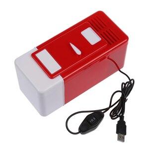 Image 4 - Mini USB lodówka czerwona mieści pojedynczą puszkę 12 uncji, która jest podświetlana z diody LED wewnątrz lodówki używanej w kabinie, w domu