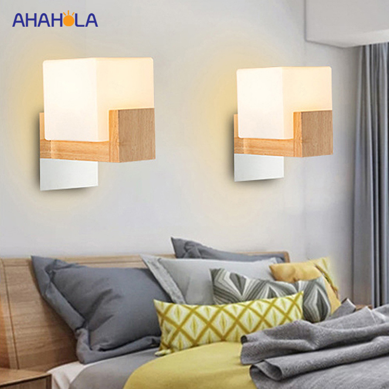 Modern Led Wall Lamp Bedside Bedroom Lamp Modern Nordic Wall Lamp Wood Sconce Wall Lights Glass Luminaria De ParedeModern Led Wall Lamp Bedside Bedroom Lamp Modern Nordic Wall Lamp Wood Sconce Wall Lights Glass Luminaria De Parede